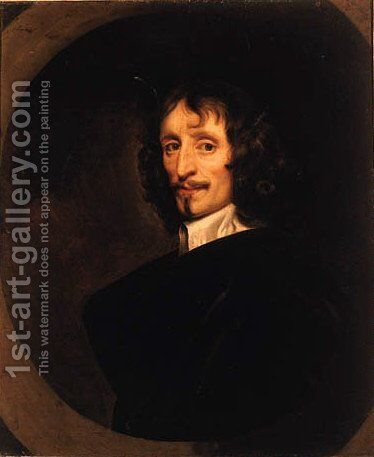 Portrait of a Gentleman, quarter-length, in a black cloak and white collar by (after) Sir Peter Lely - Reproduction Oil Painting