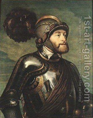 Portrait Of The Emperor Charles V In Armor by (after) Sir Peter Paul Rubens - Reproduction Oil Painting