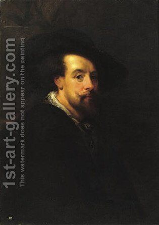 Self-portrait, half-length, in a black costume and a black hat by (after) Sir Peter Paul Rubens - Reproduction Oil Painting