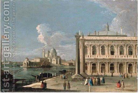 The Piazzetta, Venice, with the Libreria, the entrance to the Grand Canal with the Dogana and Santa Maria della Salute by (after) The Master Of The Langmatt Foundation View Domenichini - Reproduction Oil Painting