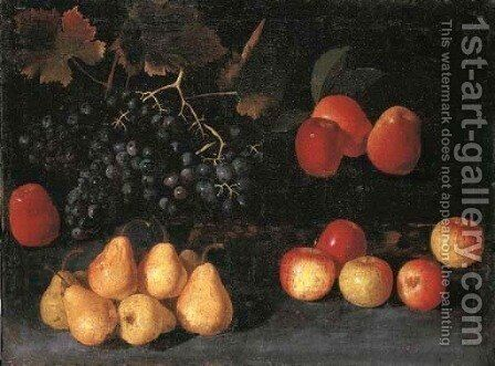 Grapes, pears and apples on a forest floor by (after) The Pseudo-Fardella - Reproduction Oil Painting
