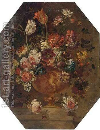 Mixed flowers in a vase on a ledge by (after) The Pseudo-Guardi - Reproduction Oil Painting
