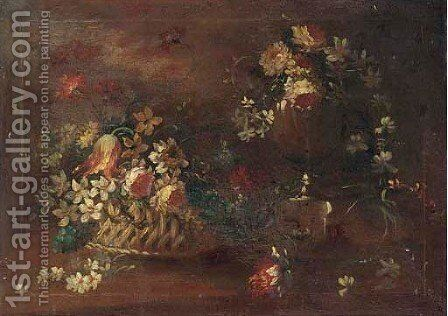 Narcissi, parrot tulips, chrysanthemums and other mixed flowers in a basket and scattered in a clearing by (after) The Pseudo-Guardi - Reproduction Oil Painting
