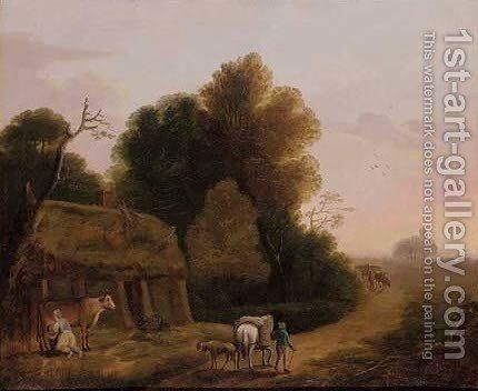 A maid milking a cow beside a country road by (after) Thomas Barker Of Bath - Reproduction Oil Painting