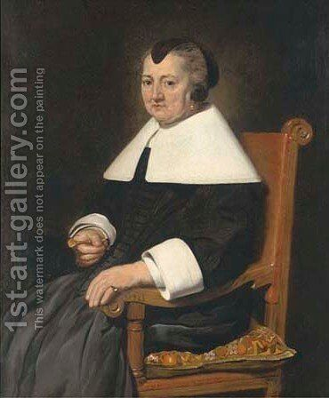 Portrait of a lady, seated three-quarter-length, a fan in her right hand by (after) Thomas De Keyser - Reproduction Oil Painting