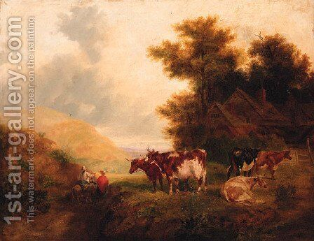 Countryfolk on a Track with Cattle resting, a Cottage beyond by (after) Thomas Francis Wainewright - Reproduction Oil Painting