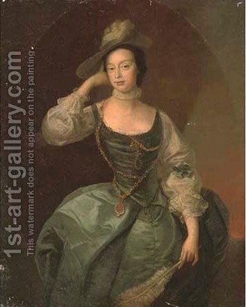 Portrait of Lady Firebrace, three-quarter-length, in a turquoise dress by (after) Thomas Hudson - Reproduction Oil Painting