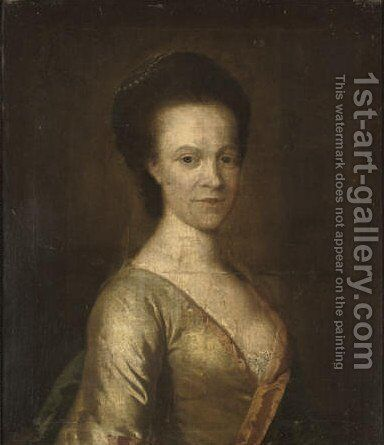 Portrait of a lady, half-length, in an oyster satin dress with pink trim and pearls in her hair by (after) Thomas Hudson - Reproduction Oil Painting