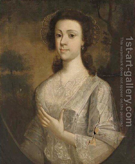 Portrait of a lady by (after) Thomas Hudson - Reproduction Oil Painting