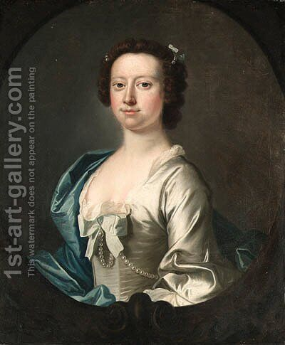 Portrait of a Lady, half-length, in a white dress and a blue wrap, sculpted oval by (after) Thomas Hudson - Reproduction Oil Painting