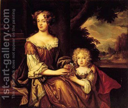 Portrait of a lady and child, thought to be the Duchess of Cleveland and her daughter Barbara Villiers by (after) Thomas Pooley - Reproduction Oil Painting