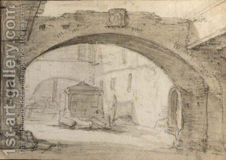 An Italianate Courtyard, Seen Through An Arch by (after) Thomas Wijck - Reproduction Oil Painting