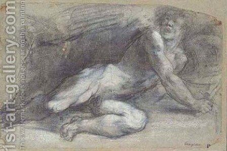 A fallen warrior twisting around to the left holding a sword and shield by (after) Tiziano Vecellio (Titian) - Reproduction Oil Painting