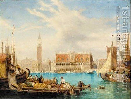 St. Mark's Square, Venice by (after) W. H. Harding - Reproduction Oil Painting