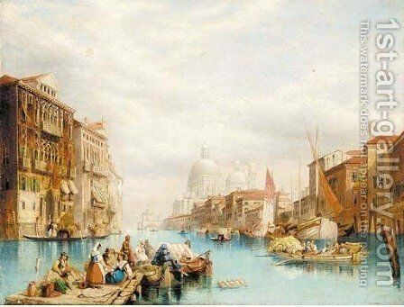 Santa Maria della Salute from the Grand Canal by (after) W. H. Harding - Reproduction Oil Painting