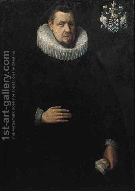 Portrait of Jean Malapert Seigneur du Bois de Buissieres by (after) Willem Adriaensz Key - Reproduction Oil Painting