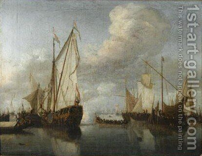 Dutch Ships At Anchor In A Harbour by (after) Willem Van De, The Younger Velde - Reproduction Oil Painting