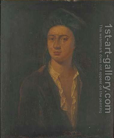 Portrait of a gentleman, traditionally identified as John Gay by (after) William Hogarth - Reproduction Oil Painting