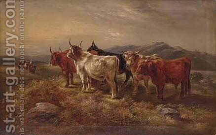 Highland cattle by (after) William Langley - Reproduction Oil Painting