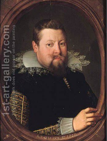 Portrait of a gentleman, aged 32 by (after)Frans, The Younger Pourbus - Reproduction Oil Painting