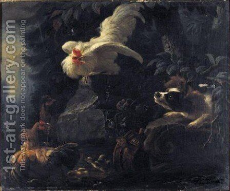 Landscape With A Spaniel Startling Chickens And Their Chicks by Abraham Bisschop Dordrecht - Reproduction Oil Painting