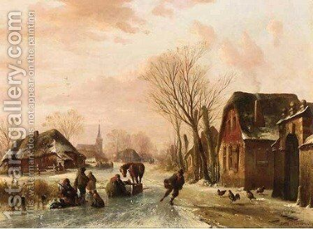 Sportsmen on a frozen river at dusk in winter by Abraham Van Der Wayen Pieterszen - Reproduction Oil Painting