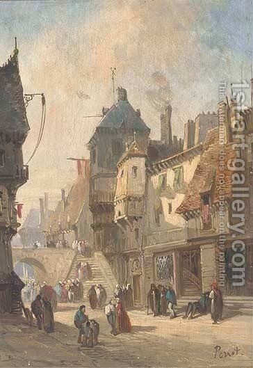 A continental street scene by Adolphe Antoine Perrot - Reproduction Oil Painting