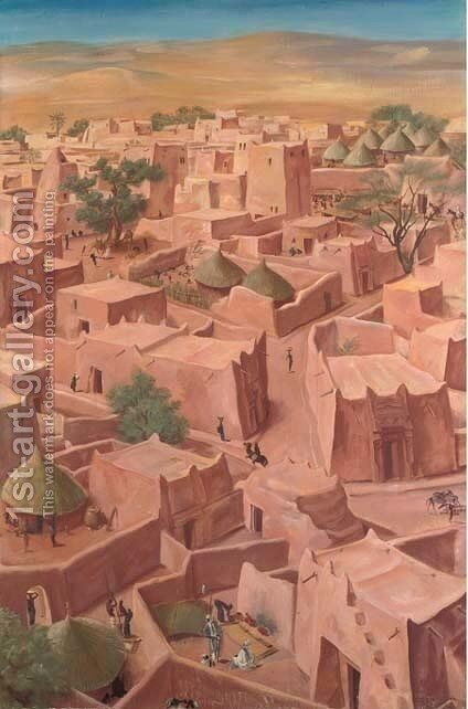 View of Zinder, Niger by Aleksandr Evgen'evich Iakovlev - Reproduction Oil Painting