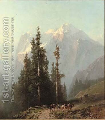 A pass through the mountains by Alfred Eduard Agenor De Bylandt - Reproduction Oil Painting