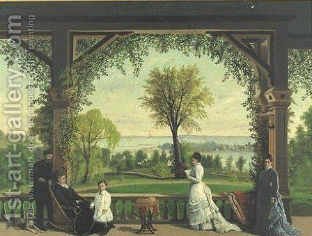 A Summer Afternoon On The Porch by American School - Reproduction Oil Painting