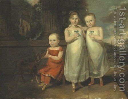 A Portrait Of Three Children And A Dog  Jane Augusta Hammer And Her Two Brothers by American School - Reproduction Oil Painting
