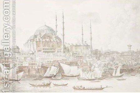 A view of the Sutleymaniye Mosque and the Golden Horn by Andre Gaspard Parfait (Comte De) Bizemont-Prunele - Reproduction Oil Painting
