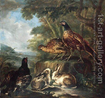 Rabbits and pheasants in a wooded landscape by Angelo Maria Crivelli, Il Crivellone - Reproduction Oil Painting