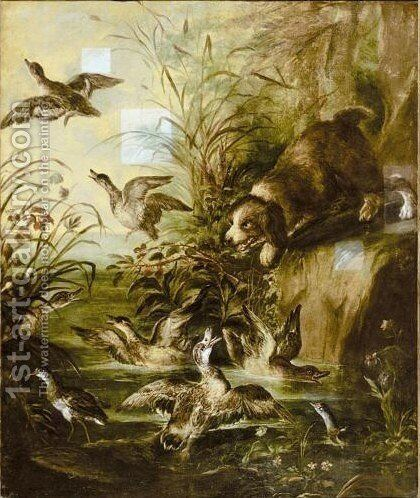 A Spaniel Flighting Ducks by Angelo Maria Crivelli, Il Crivellone - Reproduction Oil Painting