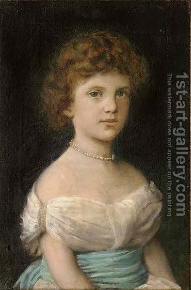 Portrait of a young girl, seated half-length, in a blue sash and pearl necklace by Angiolo Romagnoli - Reproduction Oil Painting