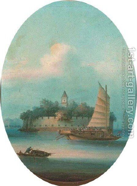 Shipping off a walled fortress|another similar by Anglo-Chinese School - Reproduction Oil Painting