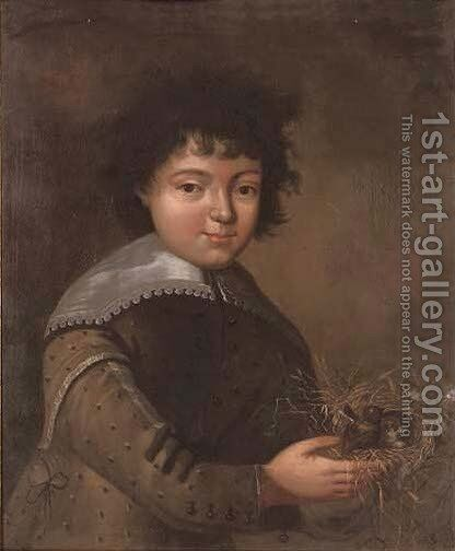 Portrait of a boy, half-length, holding a bird's nest with chicks by Anglo-Dutch School - Reproduction Oil Painting
