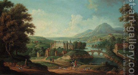 An extensive river landscape, traditionally identified as Inchyra castle beyond by Anglo-Dutch School - Reproduction Oil Painting
