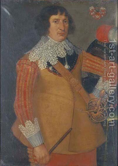 Portrait of a gentleman, three-quarter-length, in a buff coloured doublet with lace collar and cuffs by Anglo-Dutch School - Reproduction Oil Painting