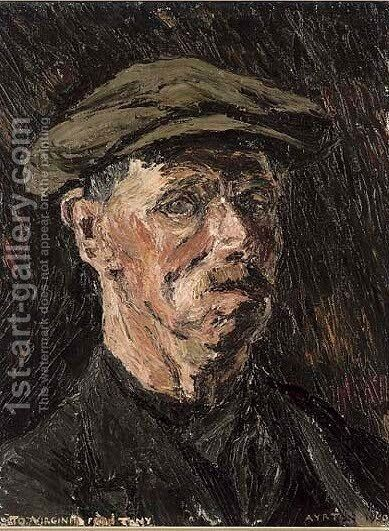 Portrait of a man, bust-length, in a black coat and flat cap by Anthony Ayrton - Reproduction Oil Painting