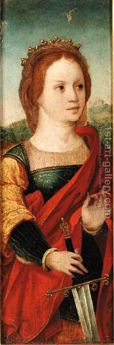 Saint Catherine of Alexandria by Antwerp School - Reproduction Oil Painting