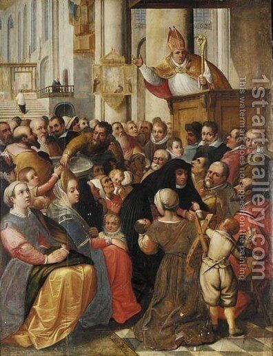 Church Interior With A Bishop Preaching From A Pulpit To A Congregation Surrounding The Font by Antwerp School - Reproduction Oil Painting