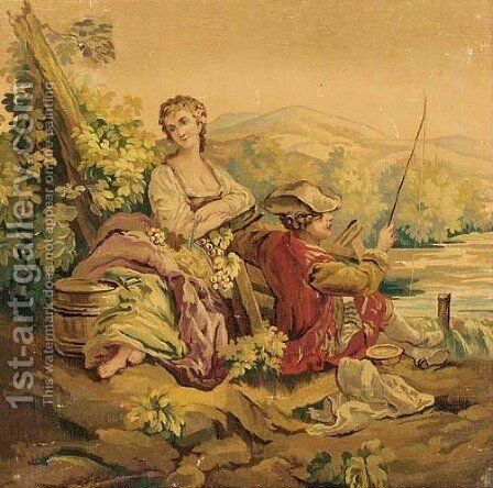 A courting couple in a pastoral landscape (detail) by Aubusson School - Reproduction Oil Painting