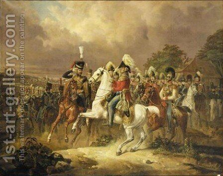 The Duke Of Cambridge On Horseback Reviewing The Hanoverian Troops by August Franz Schelver - Reproduction Oil Painting
