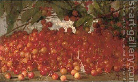 Cherries on a table by Augusto Ferri - Reproduction Oil Painting