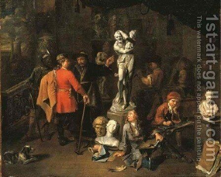 The interior of a sculptor's studio by Balthasar Van Den Bossche - Reproduction Oil Painting