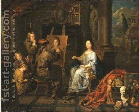 An elegant interior with an artist painting a portrait of a lady by Balthasar Van Den Bossche - Reproduction Oil Painting
