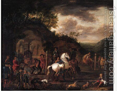 A riding school by a wooded outcrop by Barend Van Kalraet - Reproduction Oil Painting
