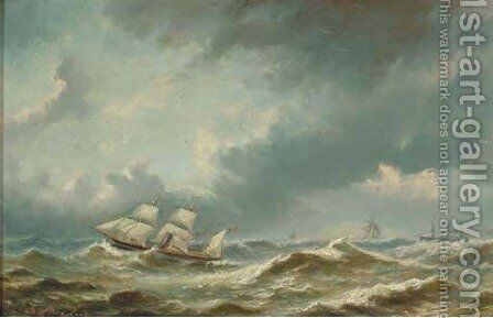 Steamers on a stormy sea by Bartol Wilhelm - Reproduction Oil Painting