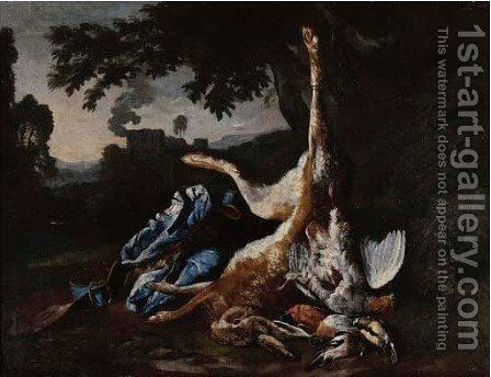 A hunting still life with a hare by Bernaert De Bridt - Reproduction Oil Painting